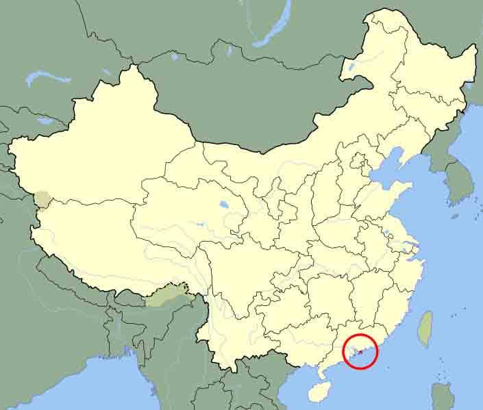 mappa di dove si trova hong kong