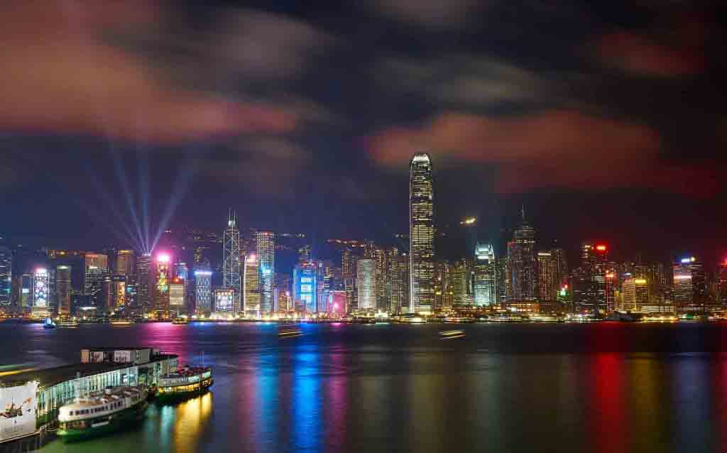 Star Ferry di Hong Kong durante Symphony of Lights